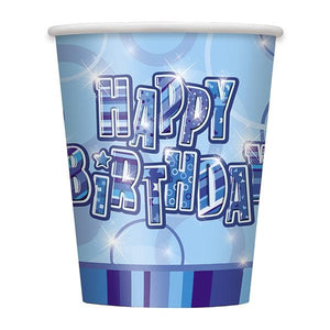 Blue Happy Birthday Cups