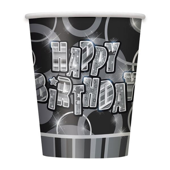 Black Happy Birthday Cups - 8 Pack
