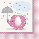 'Umbrellaphants' Pink Baby Shower Napkins