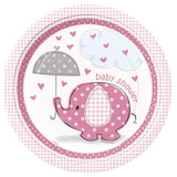 'Umbrellaphants' Baby Shower Pink Plates