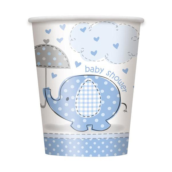 'Umbrellaphants' Baby Shower Blue Cups