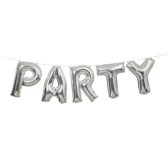 Silver 'Party' Balloon Banner Kit