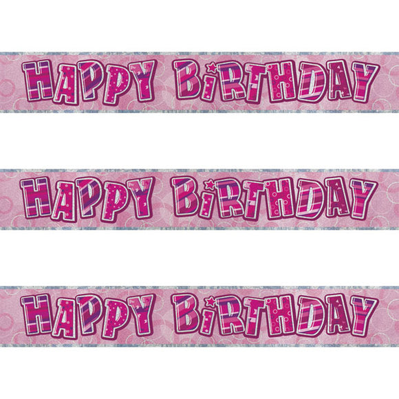 Pink Happy Birthday Banner