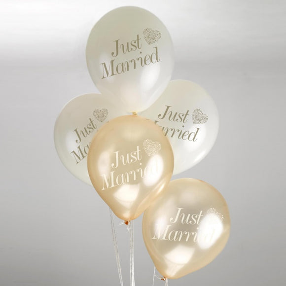 Just Married Balloons - 'Vintage Romance' Ivory / Gold Balloons