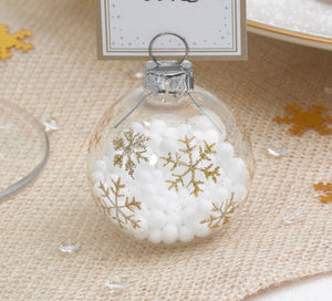 Christmas Bauble Place Card Holders (Gold Snowflake)