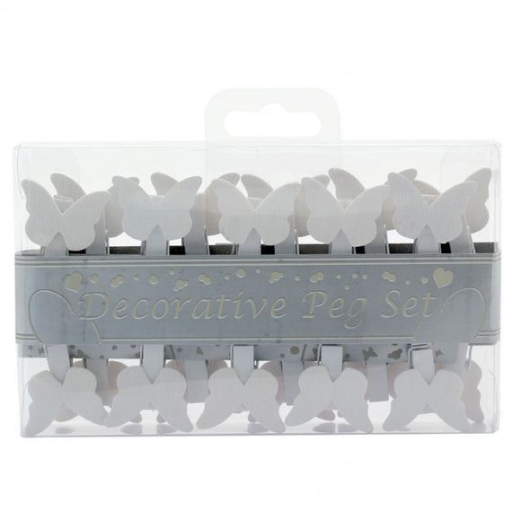 Butterfly White Decorative Pegs