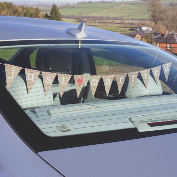 Rustic Wedding Car Bunting 'Just My Type'