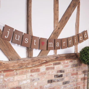 Rustic Style Just Married 'Just My Type' Bunting