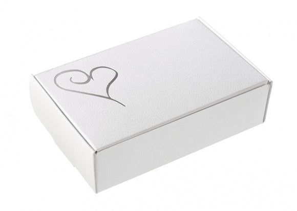 Cake Boxes - White and Silver Hearts (10 Per Pack)