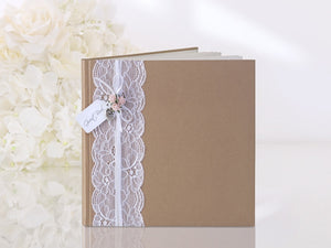 Rustic Style Guest Book - Kraft / Lace Guest Book
