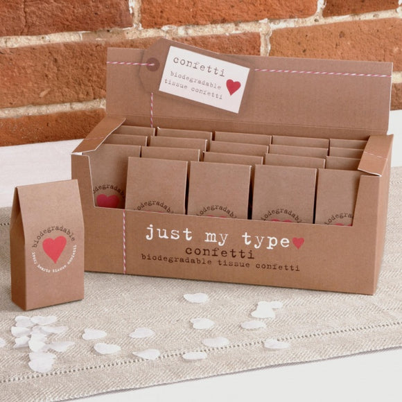 Biodegradable Tissue Paper Confetti (Ivory Hearts: 'Just My Type') - 20 Per Pack