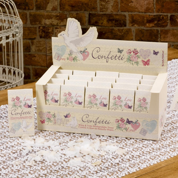 Biodegradable Confetti (Ivory / White Hearts and Butterflies 'With Love') - 20 Per Pack