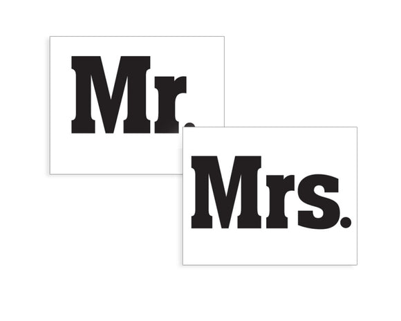 Novelty Shoe Stickers - 'Mr.' and 'Mrs.'