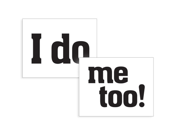 Novelty Shoe Stickers - 'I do' and 'me too!'