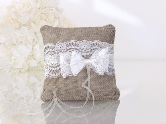Rustic Hessian / Lace Ring Cushion