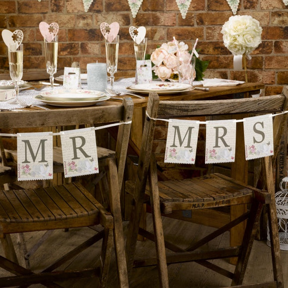 Chair Bunting - Mr and Mrs 'With Love'