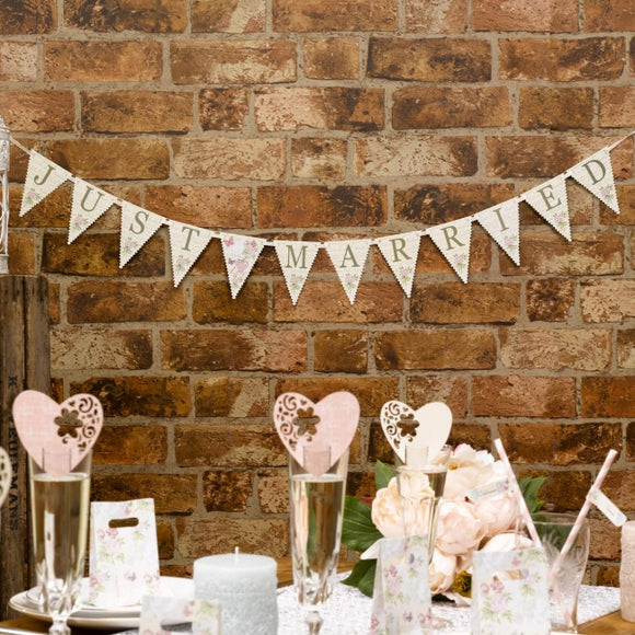 Just Married Mini Bunting 'With Love'
