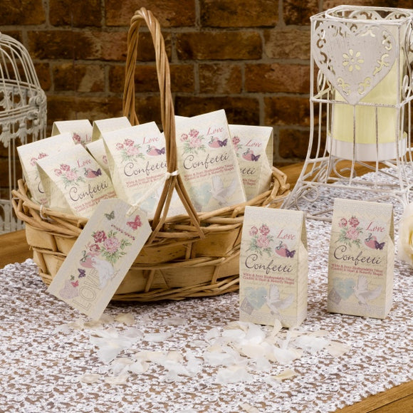 Biodegradable Confetti (Ivory / White Hearts and Butterflies 'With Love')