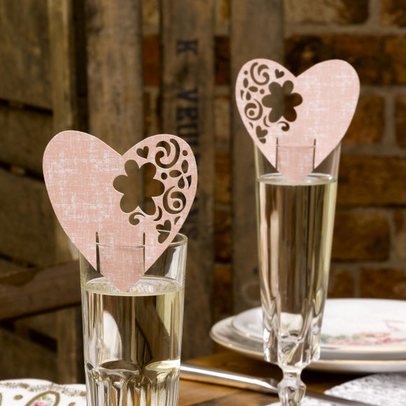 Laser Cut 'With Love' Pink Place Cards For Glasses