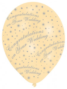 Latex Helium Quality Balloons - Ivory 'Wedding Congratulations'