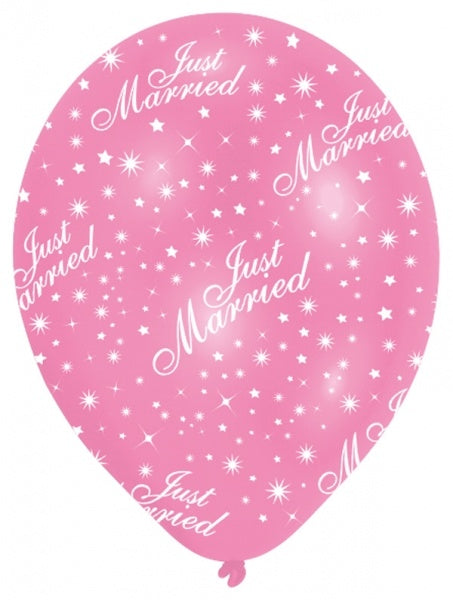 Latex Helium Quality Balloon - 'Just Married' Pink / White