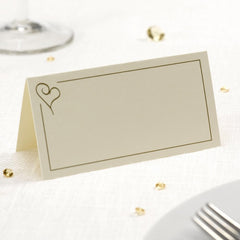 Place Card - Ivory and Gold Heart (50 Pack)