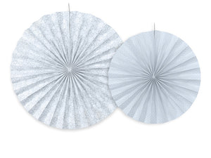 Grey Blue Rosettes / Fan Decorations - 2pk