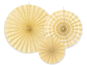 Ivory / Cream Rosettes / Fan Decorations - 3pk
