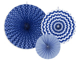 Navy Blue Rosettes / Fan Decorations - 3pk
