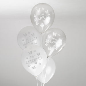Silver and White Butterfly Balloons - 8 Pack