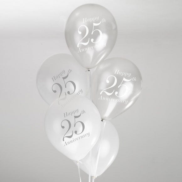 Silver and White 25th Wedding Anniversary Balloons - 8 Pack