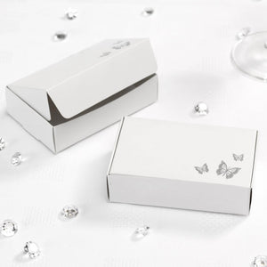 Cake Boxes - Silver and White Butterfly (10 Per Pack)
