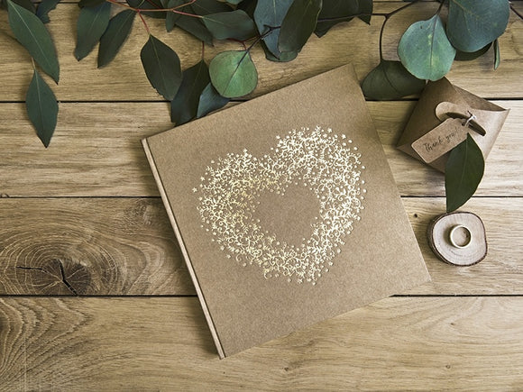 Rustic Kraft / Gold Vintage Heart Guest Book