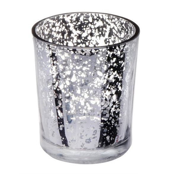 Glass Votive Candle Holder (Speckled Silver)