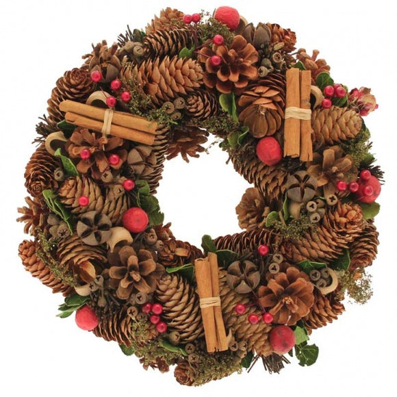 Natural Christmas Wreath - Cinnamon Finish (30cm)