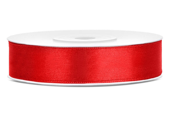 Double Sided Red Satin Ribbon - 12mm x 25 metres