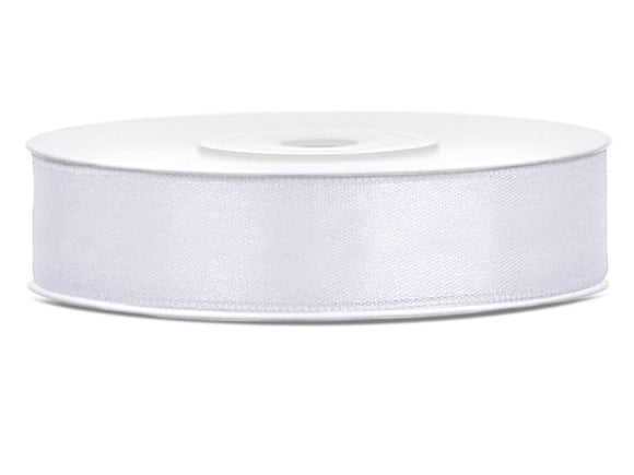 Double Sided White Satin Ribbon - 12 mm x  25 metres