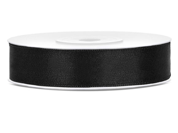 Double Sided Black Satin Ribbon - 12 mm x 25 metres