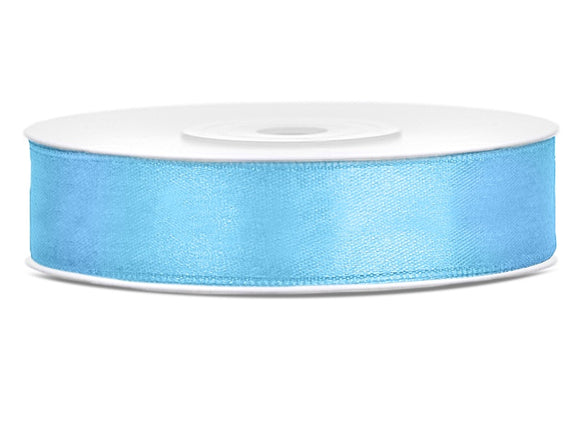 Double Sided Sky Blue Satin Ribbon - 12 mm  x 25 metres