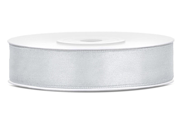 Double Sided Silver Satin Ribbon - 12 mm x 25 metres