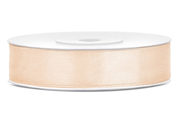 Double Sided Cream Satin Ribbon - 12 mm x 25 metres