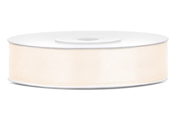 Double Sided Light Cream Satin Ribbon - 12 mm x 25 metres