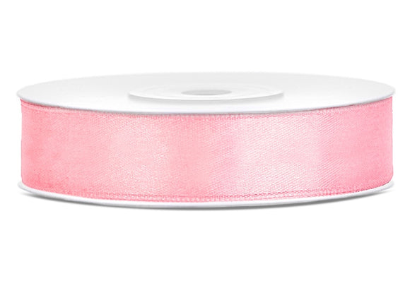 Double Sided Light Pink Satin Ribbon - 12 mm x 25 metres