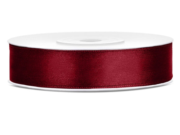 Double Sided Deep Red Satin Ribbon - 12 mm x 25 metres