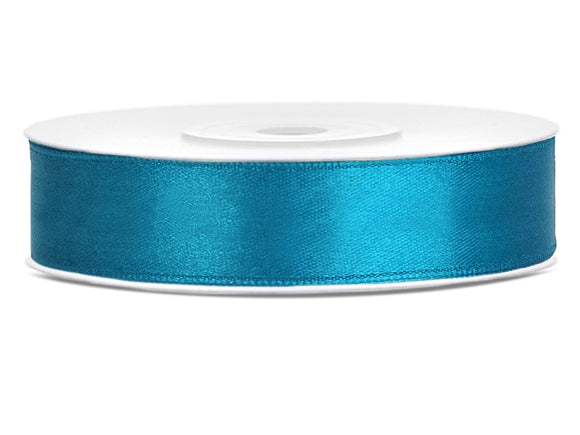 Double Sided Turquoise Satin Ribbon - 12 mm x 25 metres