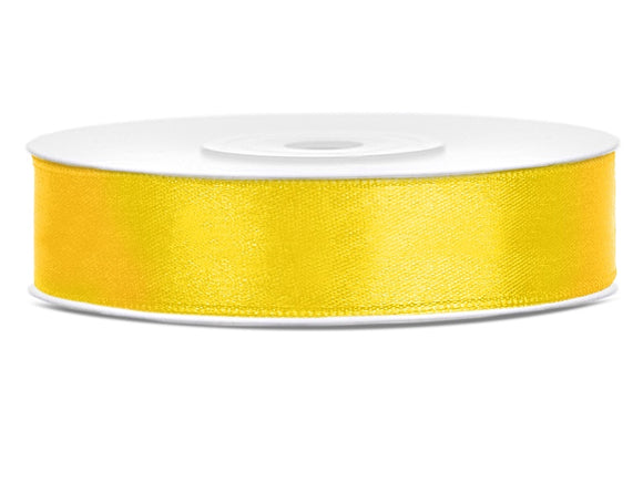 Double Sided Yellow Satin Ribbon - 12 mm x 25 metres