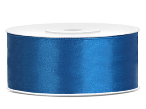 Double Sided Blue Satin Ribbon - 25 mm x 25 metres
