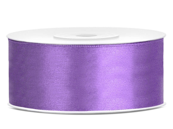 Double Sided Lilac Satin Ribbon - 25 mm x 25 metres