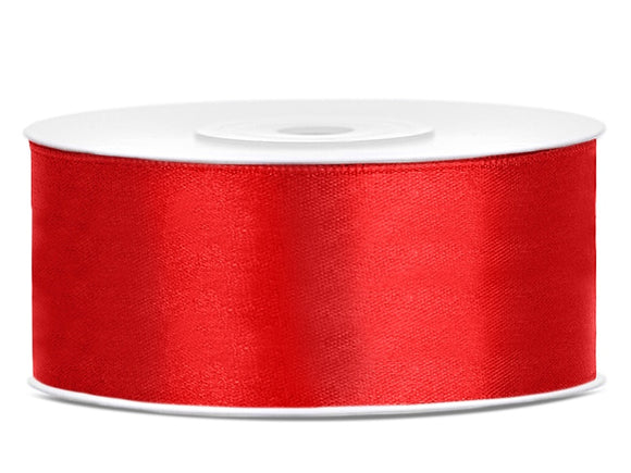 Double Sided Red Satin Ribbon - 25 mm x 25 metres