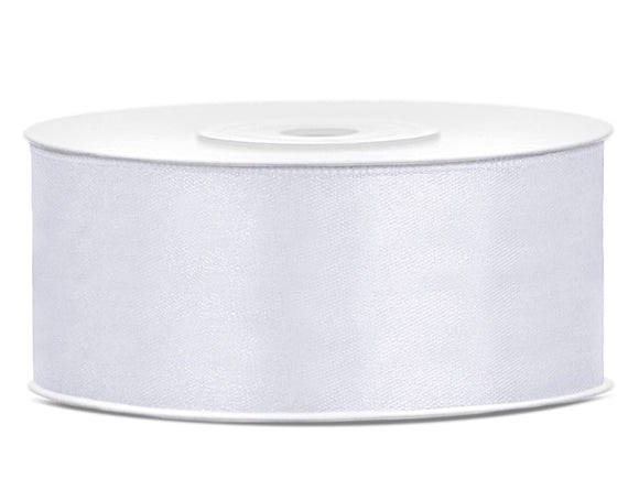 Double Sided White Satin Ribbon - 25 mm x 25 metres